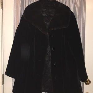 Women's Faux Fur Black Coat; Size 14